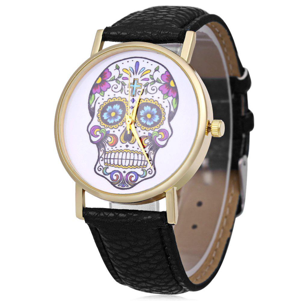 Men Women Skull Pattern Quartz Watch Leather Band