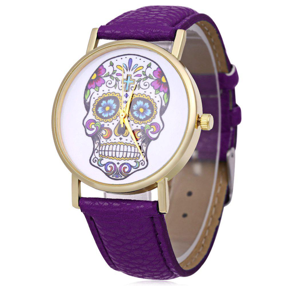 Men Women Skull Pattern Quartz Watch Leather Band - PURPLE