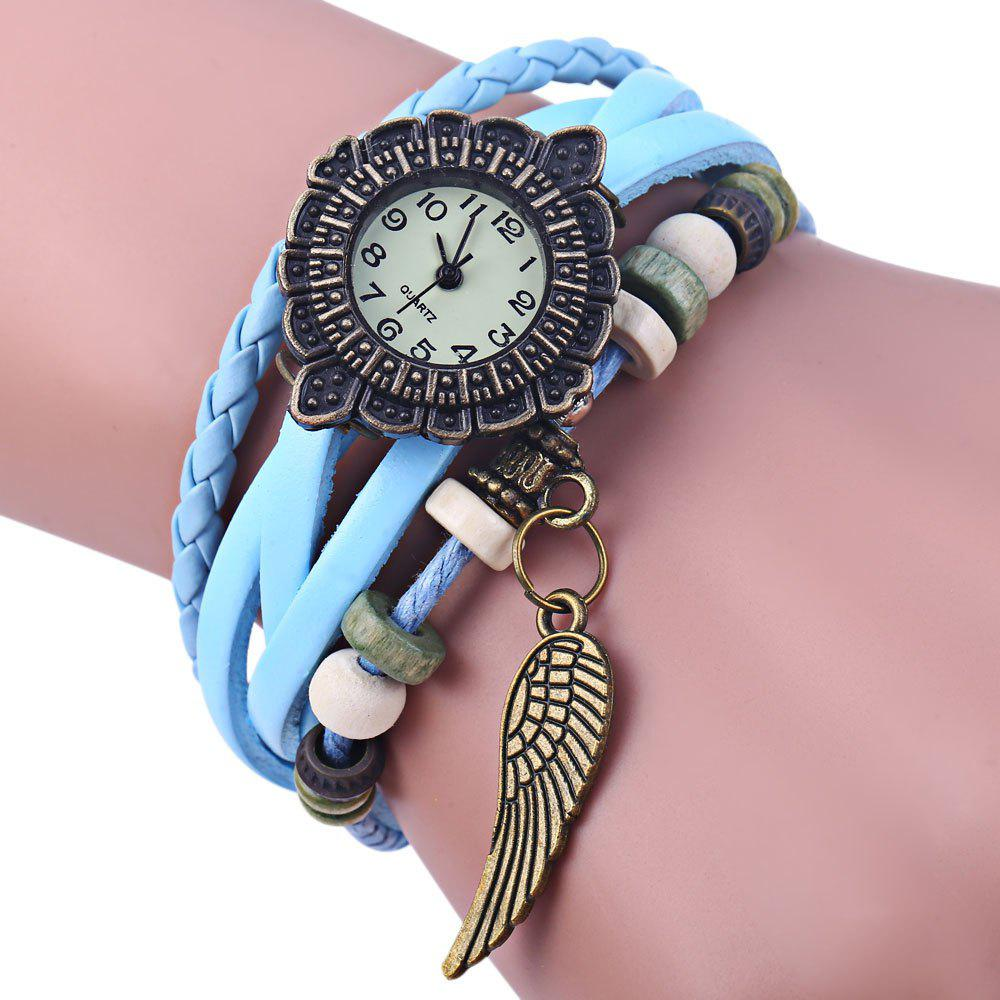 Retro Women Woven Bracelet Quartz Watch Leather Strap Wing Pendent