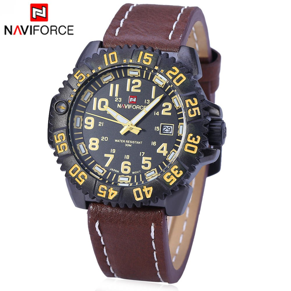 Naviforce 9041 Luminous Men Quartz Watch Military Style Leather Band - YELLOW