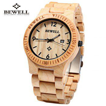 Bewell ZS - W086B Wood Men Watch Analog Quartz Movement Date Display