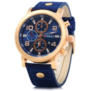 Curren 8199 Male Quartz Watch with Canvas + Leather Band - YELLOW