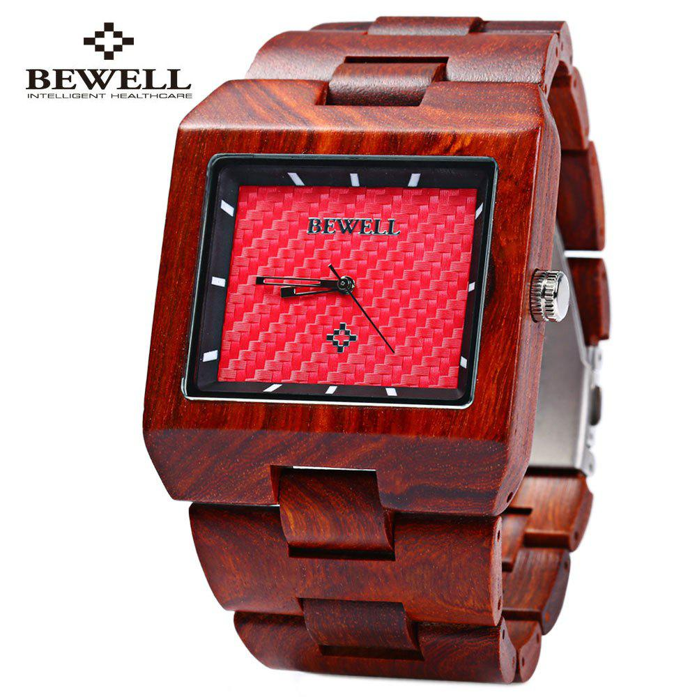 Bewell ZS - W016A Male Quartz Watch Rectangle Dial Wooden Band Hollow-out Pointer Wristwatch - RED SANDALWOOD