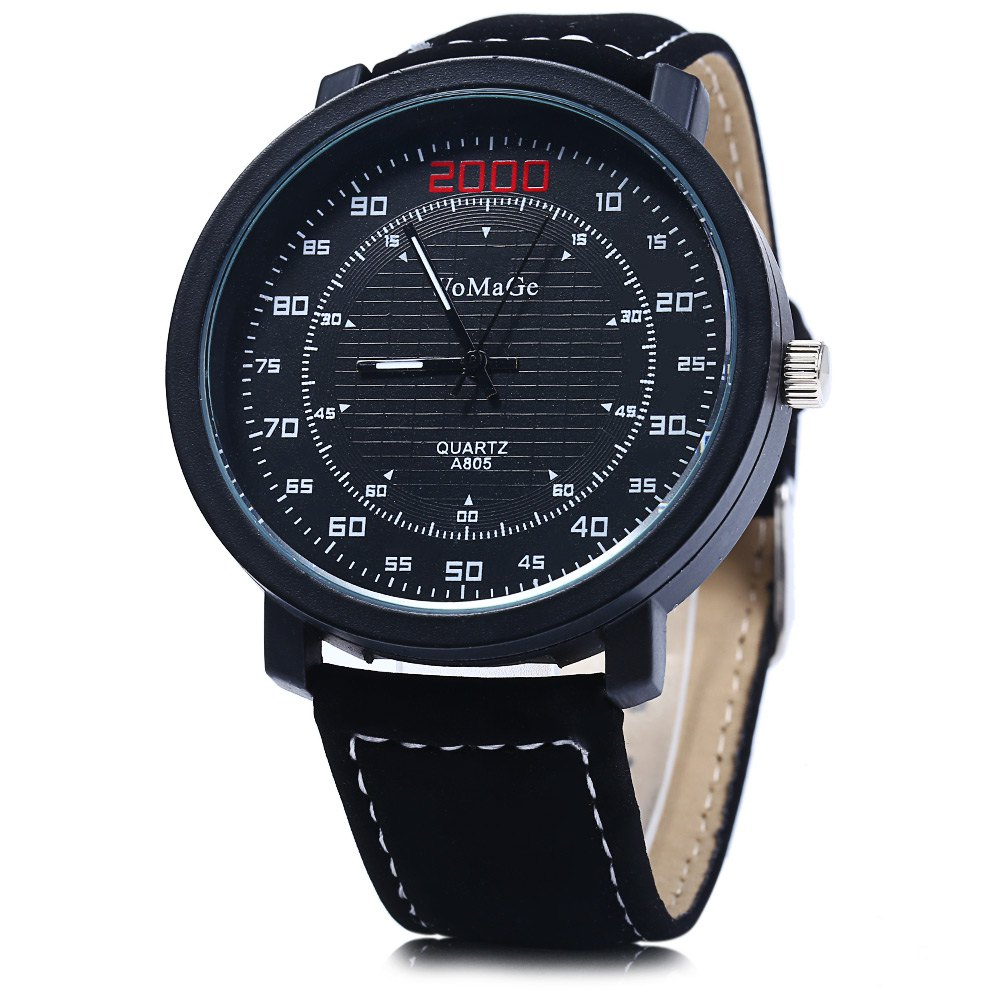 Womage A805 Quartz Watch with Double Scales Leather Band for Men -  BLACK
