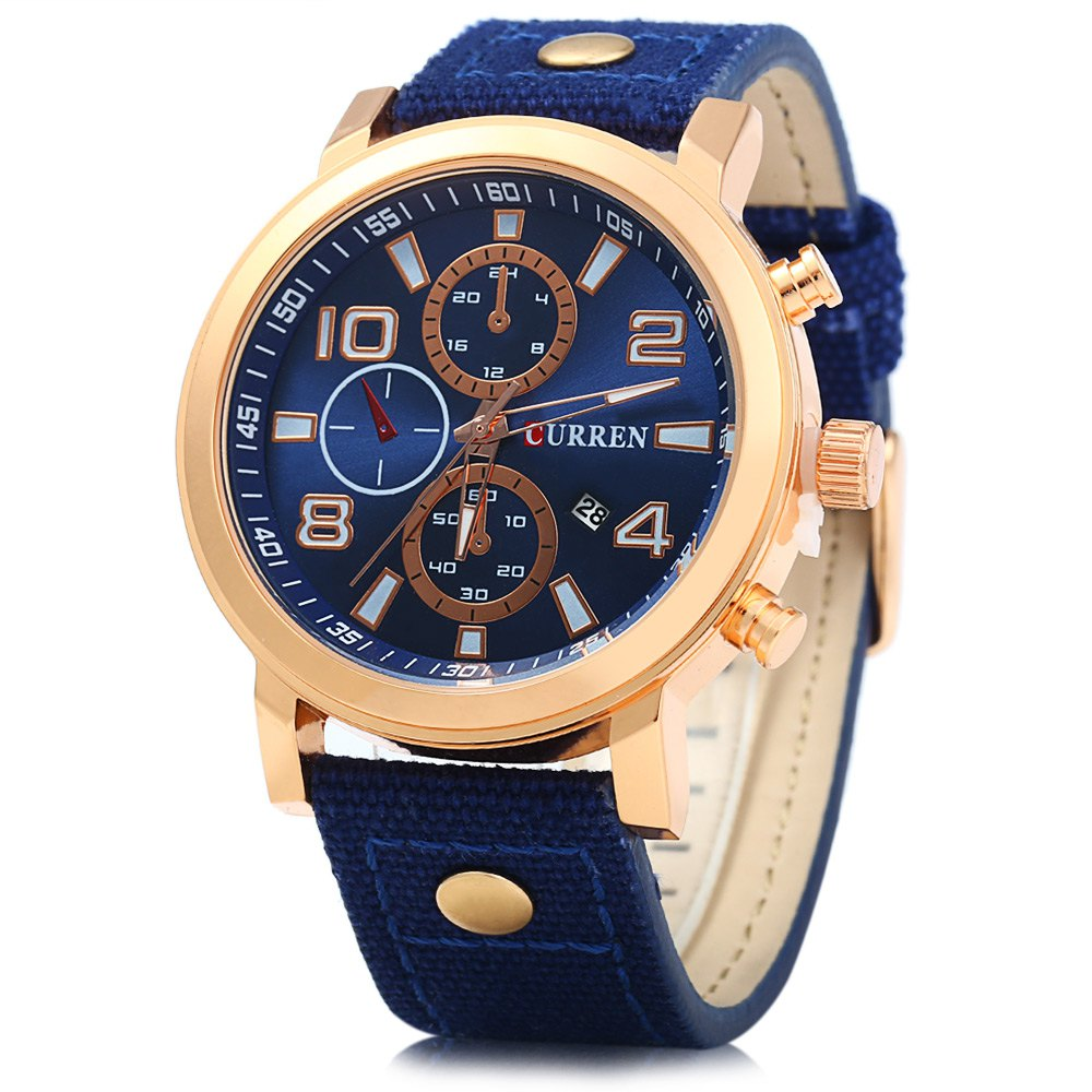 Curren 8199 Male Quartz Watch with Canvas + Leather Band curren curren 6