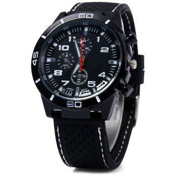 Men Military Sports Quartz Watch Silicone Strap Decorative Sub-dials Black Bezel