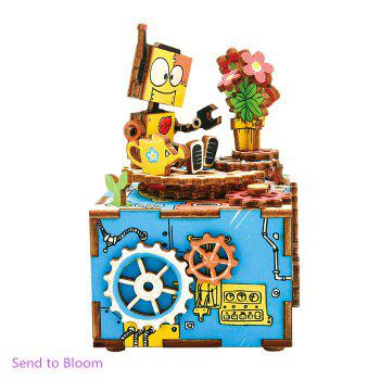 Buy Robotime AM305 DIY Assembled Hand-cranked Music Box Wooden 3D Assembly Model Kit COLORMIX