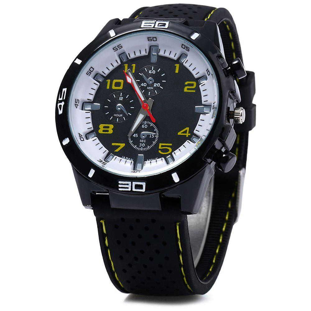 Men Military Sports Quartz Watch Silicone Strap Decorative Sub-dials White Bezel - YELLOW