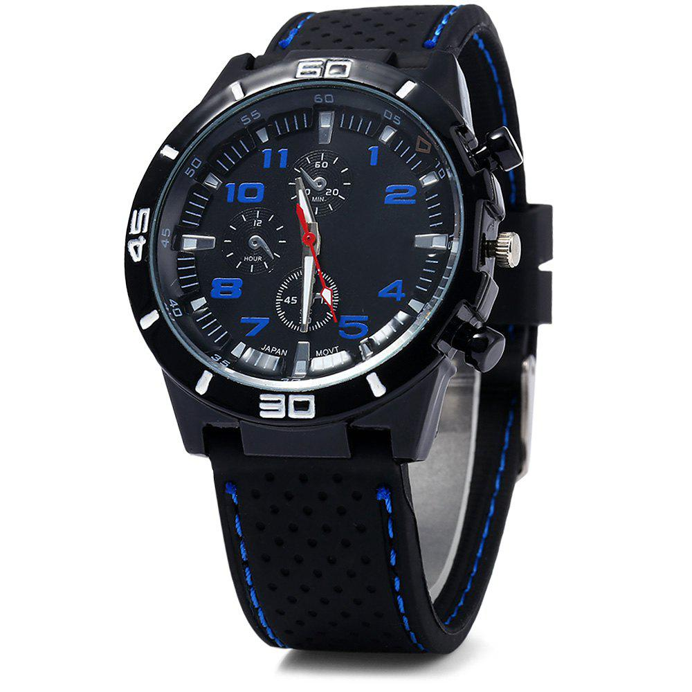 Men Military Sports Quartz Watch Silicone Strap Decorative Sub-dials Black Bezel - BLUE