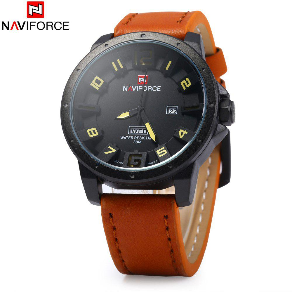 NAVIFORCE NF9061M Men Analog Quartz Watch Date Day Display 30M Water Resistance Wristwatch - BROWN
