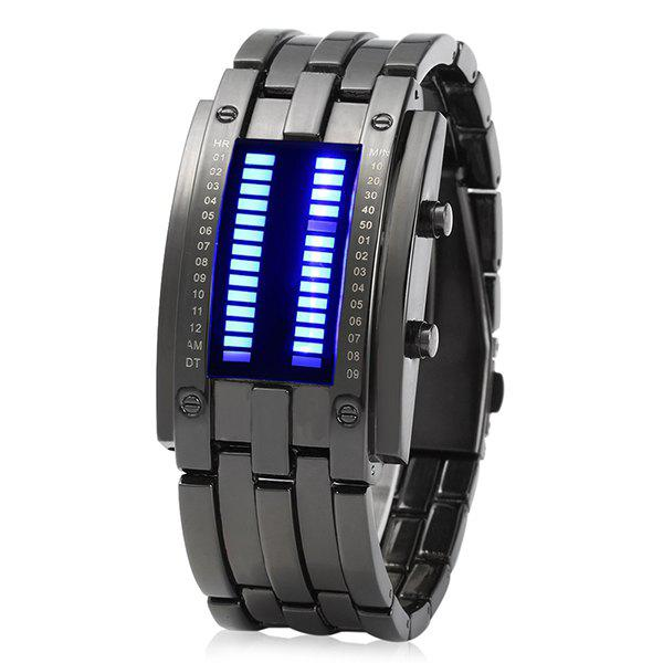 Men Date Binary Digital LED Bracelet Watch Rectangle Dial - BLACK