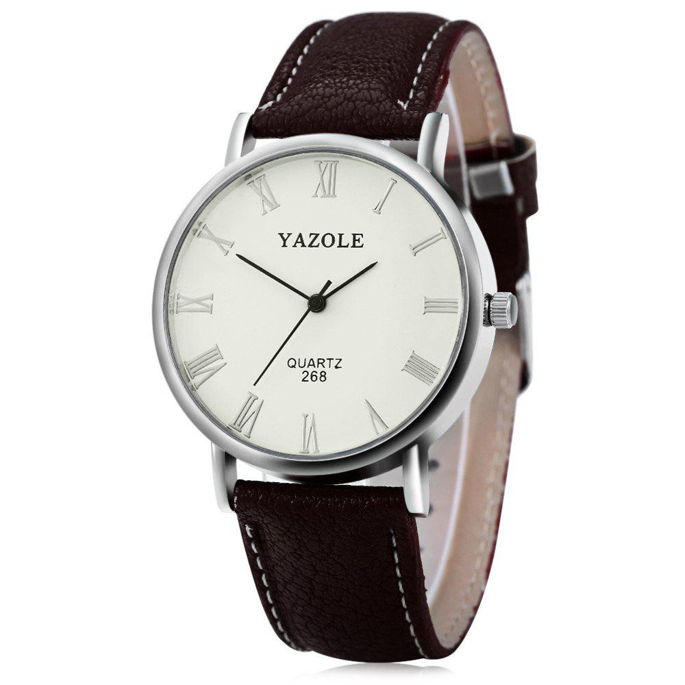 YAZOLE 268 Men Leather Analog Quartz Watch with Roman Scale 30M Water Resistant - BROWN WHITE