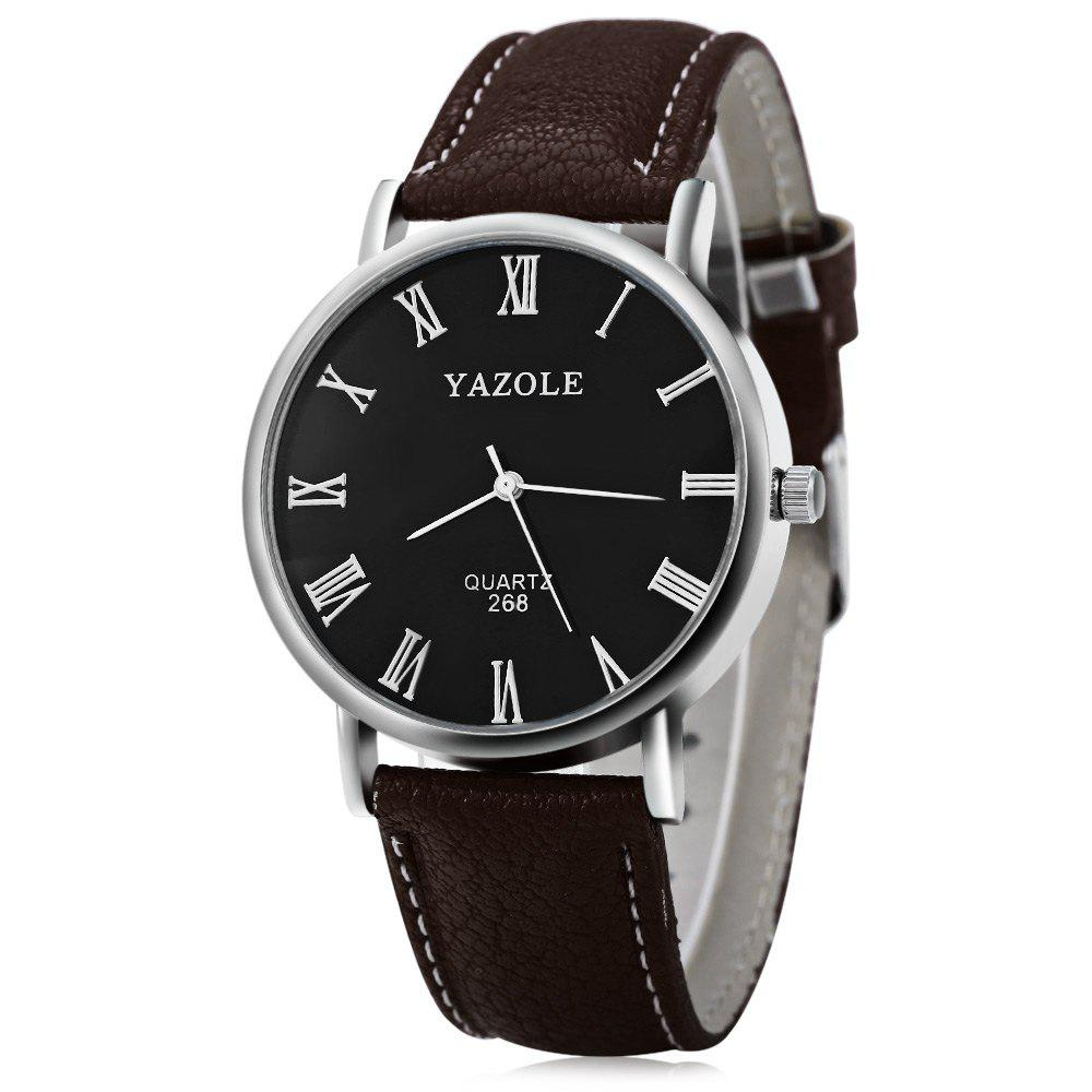 YAZOLE 268 Men Leather Analog Quartz Watch with Roman Scale 30M Water Resistant - BROWN BLACK