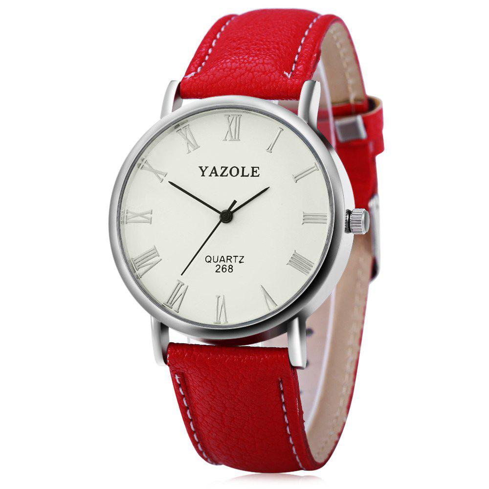 YAZOLE 268 Men Leather Analog Quartz Watch with Roman Scale 30M Water Resistant - RED WHITE