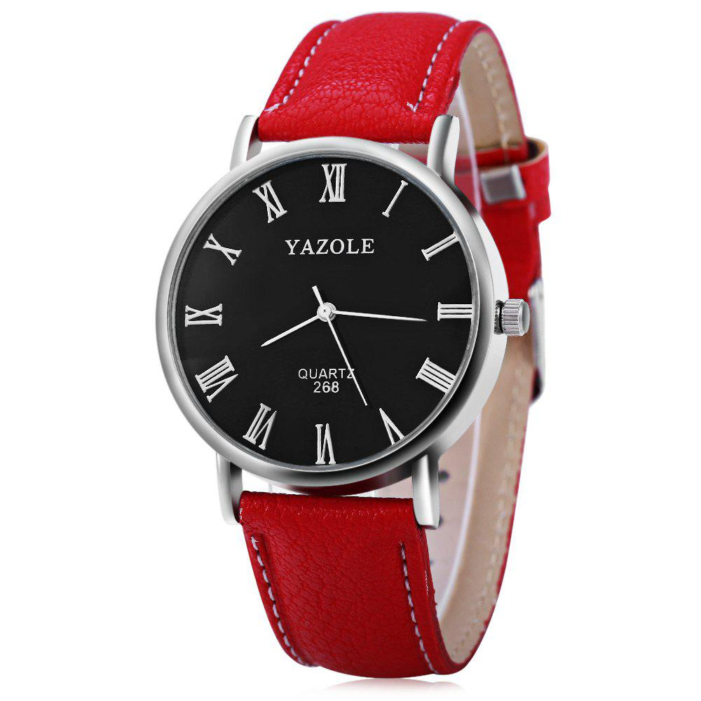 YAZOLE 268 Men Leather Analog Quartz Watch with Roman Scale 30M Water Resistant - RED BLACK