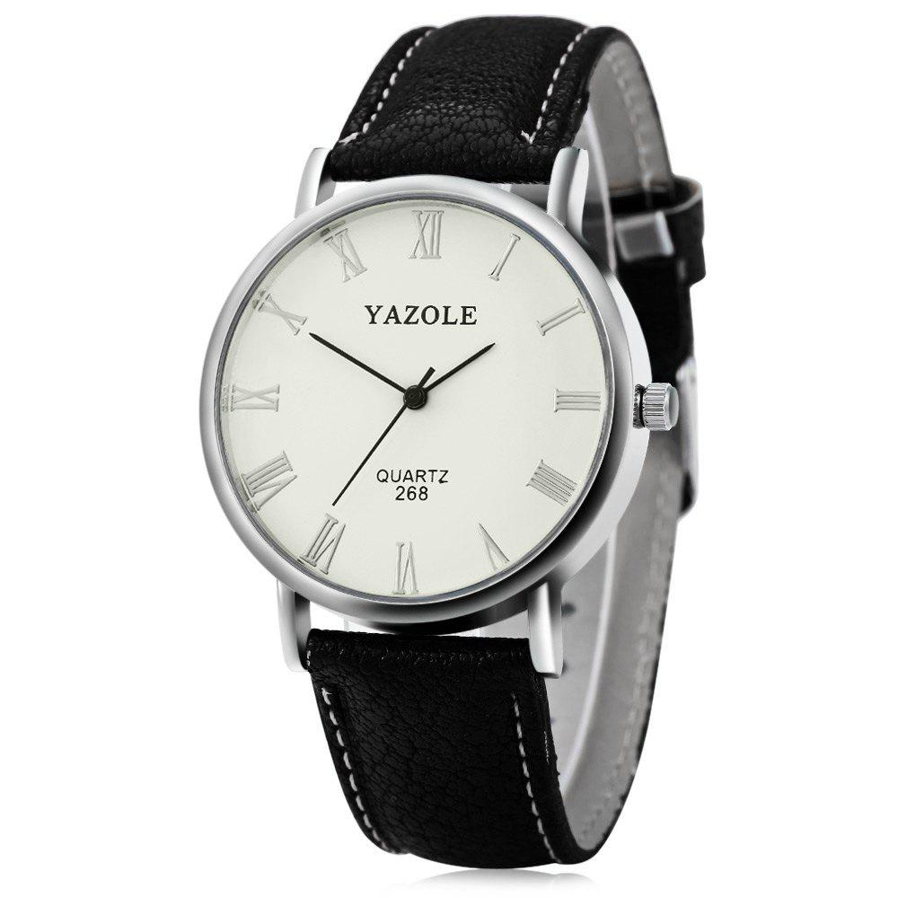 YAZOLE 268 Men Leather Analog Quartz Watch with Roman Scale 30M Water Resistant - BLACK WHITE