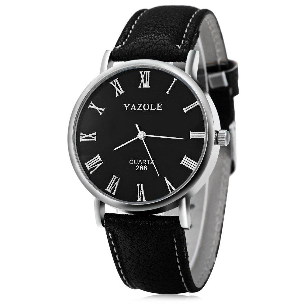 YAZOLE 268 Men Leather Analog Quartz Watch with Roman Scale 30M Water Resistant - BLACK BLACK