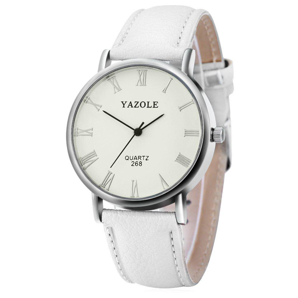 YAZOLE 268 Men Leather Analog Quartz Watch with Roman Scale 30M Water Resistant - WHITE WHITE