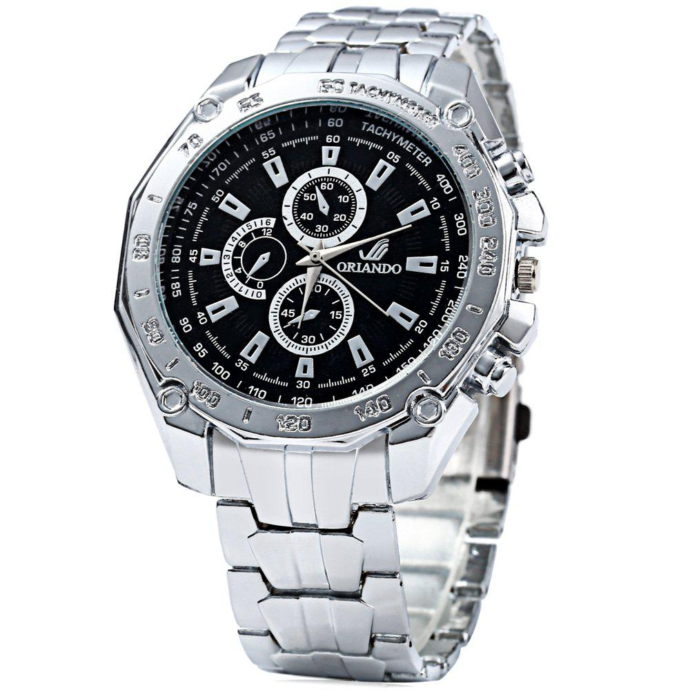 ORLANDO 410 Men Quartz Watch with Decorative Sub-dials - BLACK