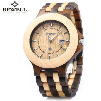 Bewell ZS - 080A Wooden Quartz Men Watch Date Luminous Waterproof