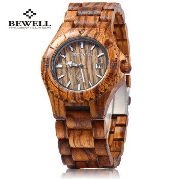 Bewell ZS - W020C Wooden Quartz Men Watch Date Dispaly Luminous Pointer