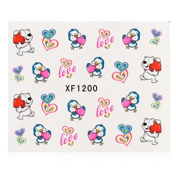 1 Sheet Water Transfer Sticker Flowers Nail Wraps Temporary Tattoos Watermark Nail Decoration - XF1200 XF