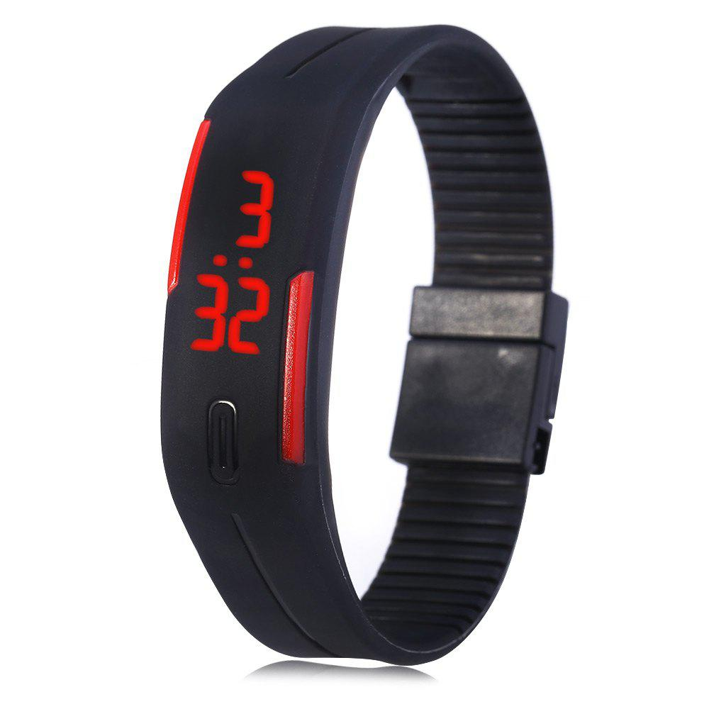 LED Watch Red Subtitles Date Rubber Strap Rectangle Dial - BLACK