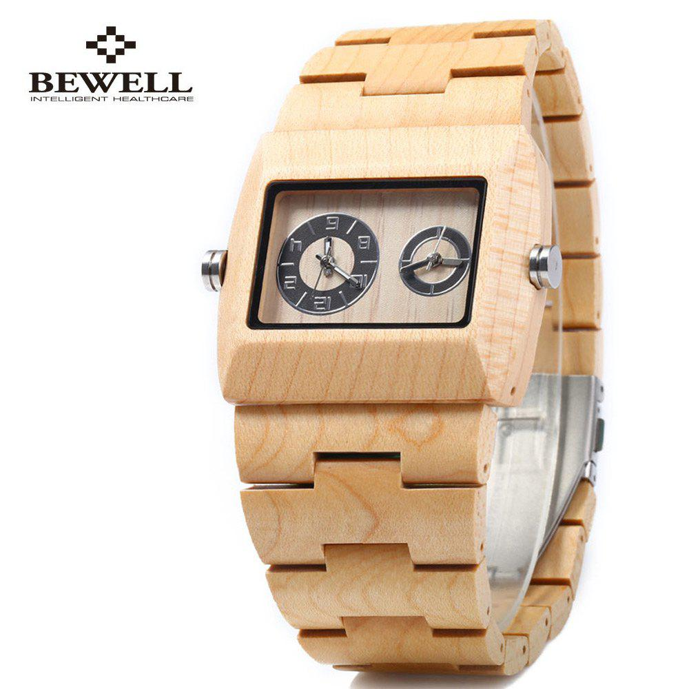 BEWELL ZS - W021C Wooden Men Quartz Watch Double Movement - MAPLE WOOD