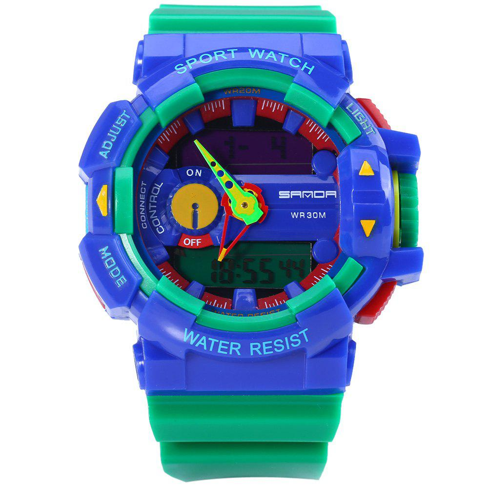 Sanda 599 Date Stopwatch Day World Time Function Sports LED Watch - BLUE/GREEN