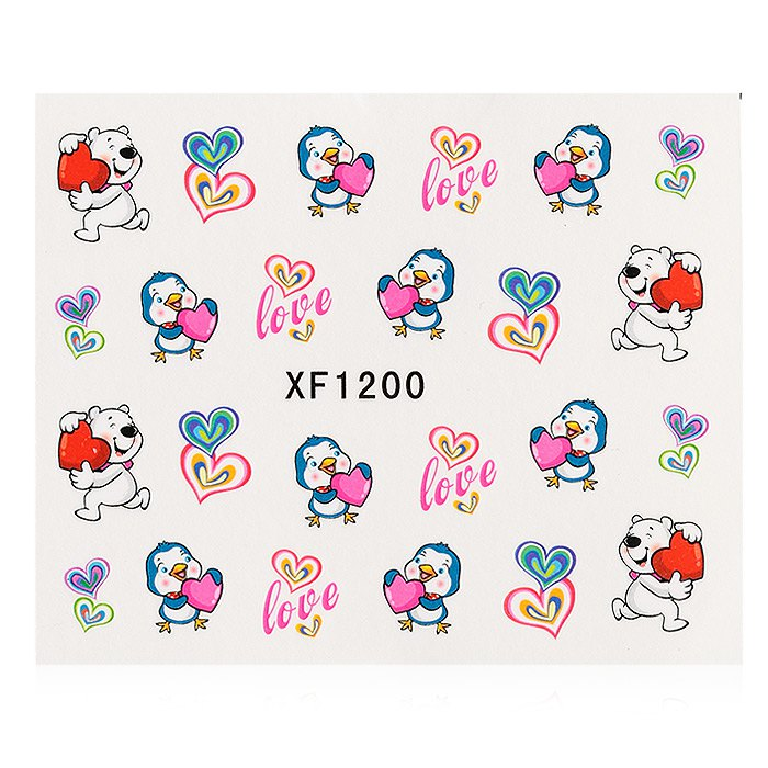 1 Sheet Water Transfer Sticker Flowers Nail Wraps Temporary Tattoos Watermark Nail Decoration