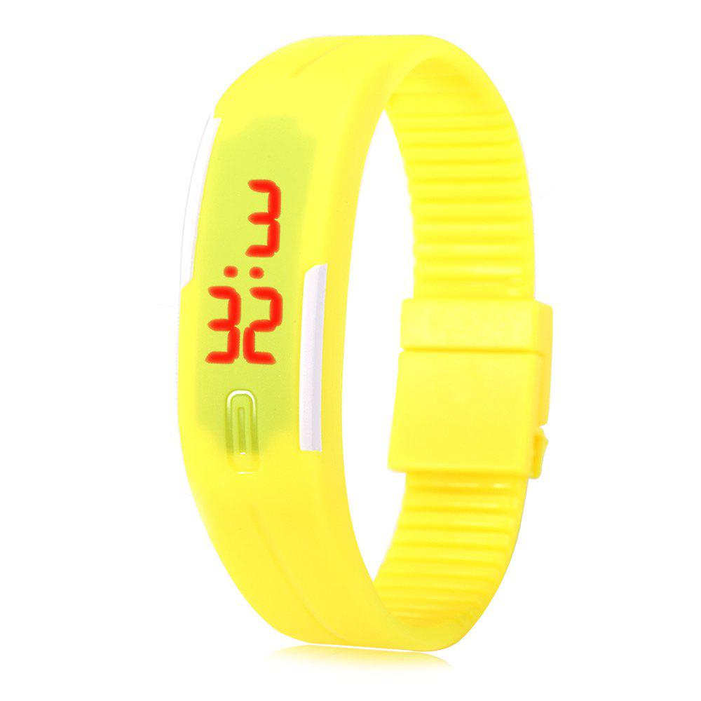 LED Watch Red Subtitles Date Rubber Strap Rectangle Dial - YELLOW