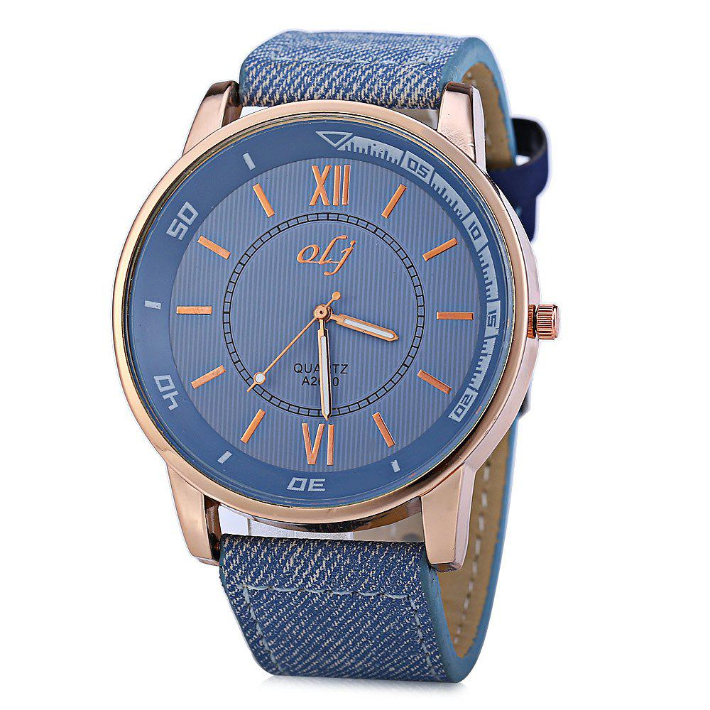 OLJ A2610 Men Quartz Watch with Canvas + Leather Strap - ICE BLUE