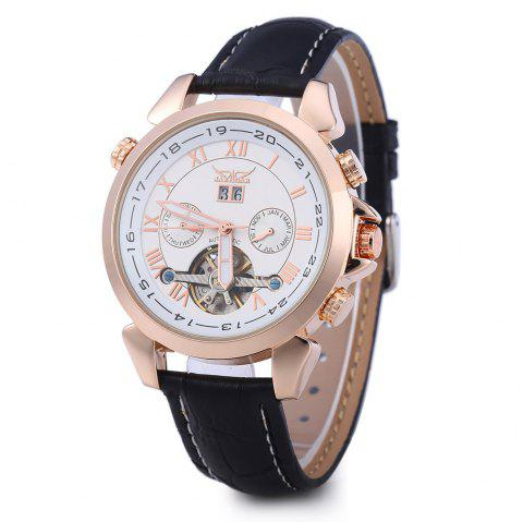JARAGAR H057M Men Tourbillon Automatic Mechanical Watch Leather Strap Date Week Month - ROSE GOLD/WHITE