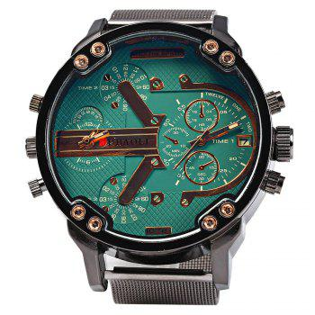 JUBAOLI Double Movt Men Quartz Watch with Decorative Sub-dials Date Function - GREEN