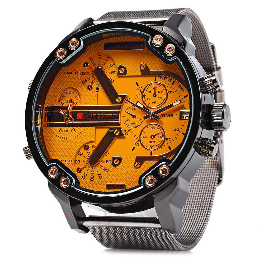 JUBAOLI Double Movt Men Quartz Watch with Decorative Sub-dials Date Function - ORANGE
