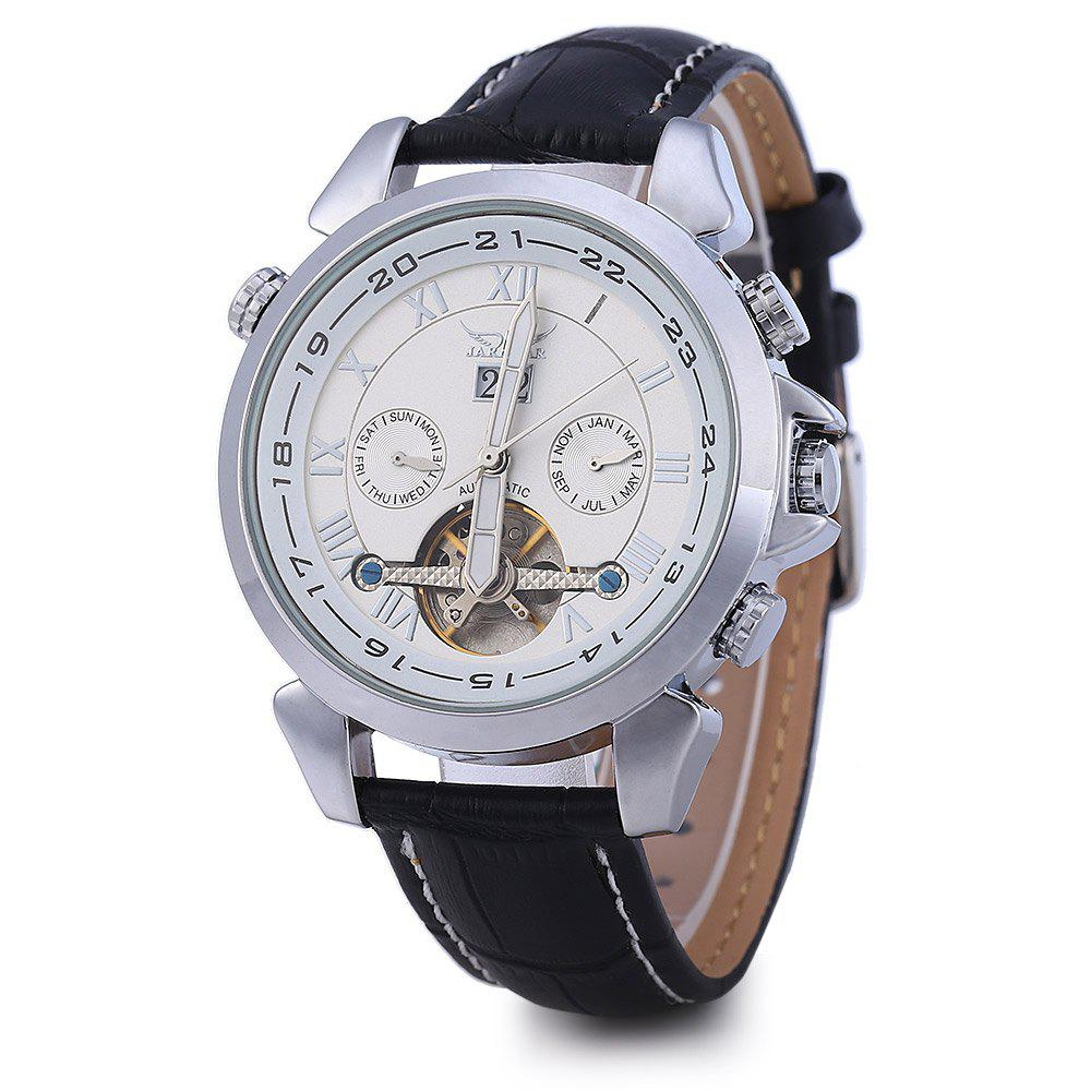 JARAGAR H057M Men Tourbillon Automatic Mechanical Watch Leather Strap Date Week Month - SILVER/WHITE
