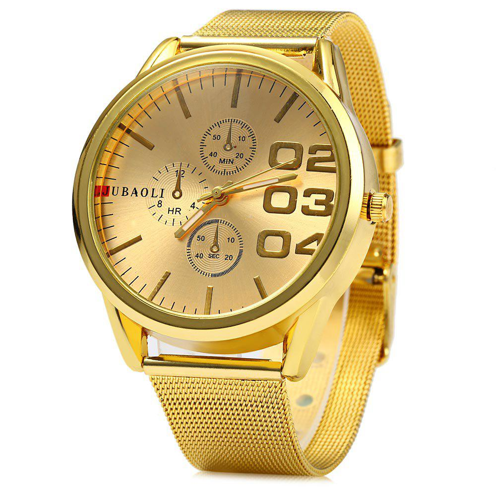 JUBAOLI Men Steel Band Quartz Watch with Decorative Sub-dials - GOLDEN
