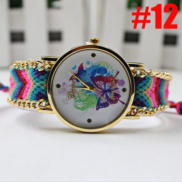 Geneva Butterfly Face Women Quartz Watch with Golden Case - BLUE/PINK