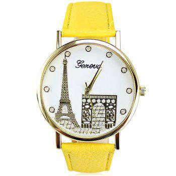 Geneva Women Diamond Quartz Watch with Golden Case - YELLOW YELLOW