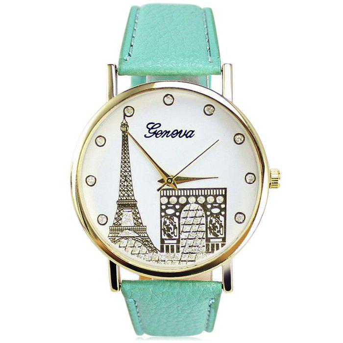 Geneva Women Diamond Quartz Watch with Golden Case - GREEN