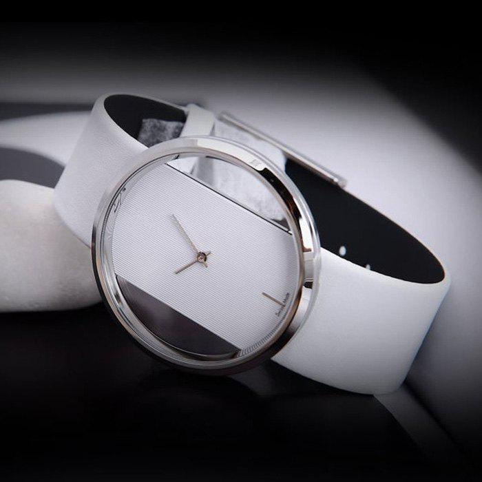 Leather Band Transparent Dial Female Quartz Watch - WHITE