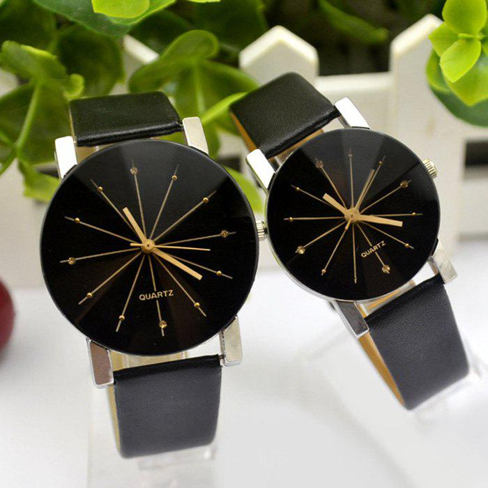 Couple Quartz Watch with Diamond-shaped Mirror