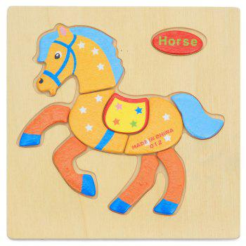 OU YI 2D Wooden Block Puzzle Children Educational Toy for Improving Imagination - COLORFUL COLORFUL