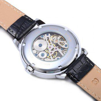 Forsining Men Auto Mechanical Leather Wrist Watch -  WHITE/ROSE GOLD