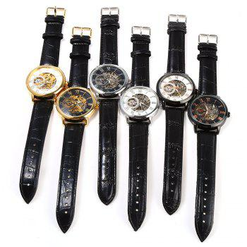 Forsining Men Auto Mechanical Leather Wrist Watch -  SILVER/BLACK