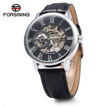 Forsining Men Auto Mechanical Leather Wrist Watch - SILVER AND BLACK SILVER/BLACK