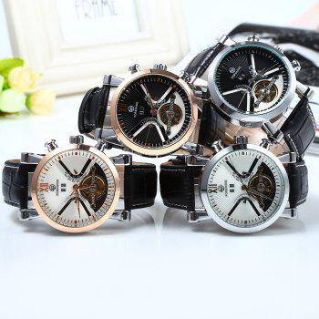 Forsining Male Tourbillon Auto Mechanical Watch Leather Strap with Date Display - SILVER/BLACK