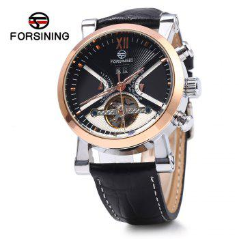 Forsining Male Tourbillon Auto Mechanical Watch Leather Strap with Date Display - BLACK AND GOLDEN BLACK/GOLDEN