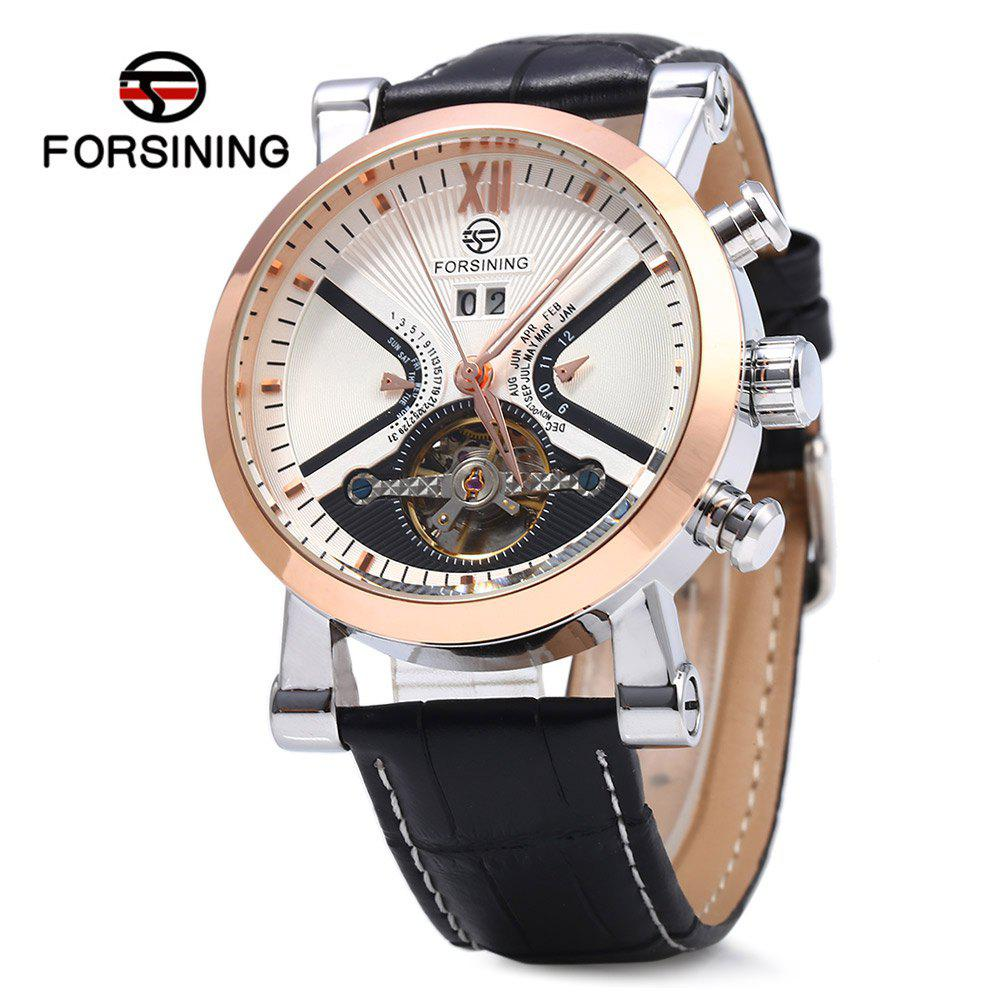 Forsining Male Tourbillon Auto Mechanical Watch Leather Strap with Date Display - WHITE/GOLDEN