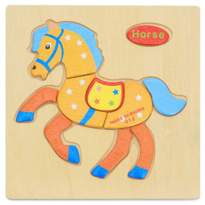OU YI 2D Wooden Block Puzzle Children Educational Toy for Improving Imagination - COLORFUL HORSE